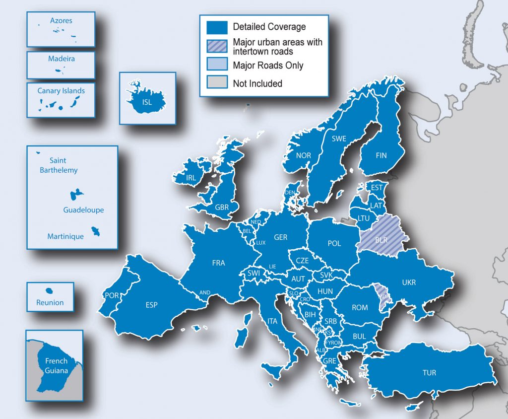 Garmin mape Evrope