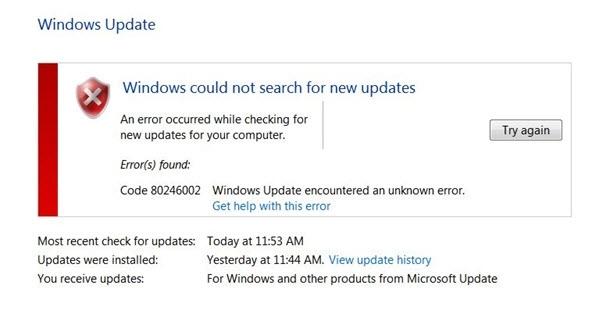 Windows update error 80246002